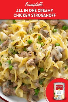 All-In-One Creamy Chicken Stroganoff Recipe Beef Recipes, Pasta Recipes, Chicken Recipes, Cooking Recipes, Healthy Recipes, Campbells Soup Recipes, Pasta Dishes, Food Dishes, Pizza