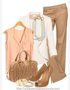 coral shirt, white sweater, khaki pants/skirt, nude heels