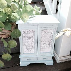 $45. Vintage painted jewelry box armoire blue with map on Etsy. Jewelry Box Makeover, Painted Jewelry Boxes, Jewellery Box, Trinket Boxes, Chalk Paint, Armoire, Decoupage, Diy Crafts, Crafty