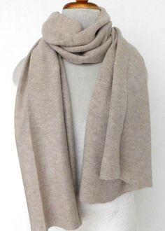 Cashmere w merino knit scarf - Beige