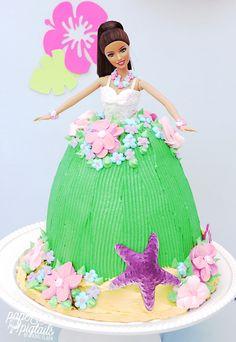 Barbie knows her beach: #Beach luau #Barbie #birthday cake!