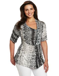 Kenneth Cole Women's Plus-Size Draped Asymmetric Knit Tunic
