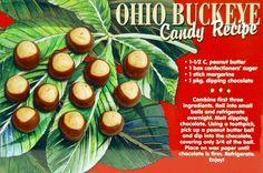 Ohio Buckeye Candy Recipe Postcard