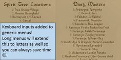 Generic menus including Spirit trees Wildy obelisks and the Diary master teleports to accept keyboard shortcuts!