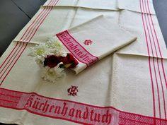 Vintage Handtücher - Leinehandtücher Spruchtücher Jugendstil Monogramm - ein Designerstück von Bluedamast bei DaWanda