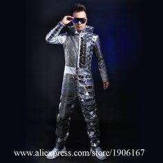 df37ad5756c39 Mode Silber herren Overall Pailletten Spiegel Bühnenshow Performance  Nachtclub Tragen Outfit Kleidung Männlichen Ds Dj Linsen Kostüm(China  (Mainland))