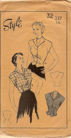 Cute 1950's Blouse pattern Short Sleeved by MaggieandRose on Etsy