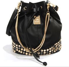 Kardashian Kollection Winter 2012 Stud Duffel Bag - Black by Body Royale Accessories Hand Accessories, Sunglasses Accessories, Backpack Purse, Purse Wallet, Kardashian Kollection, Beautiful Bags, Purses And Handbags, Bucket Bag, Chalk Painting
