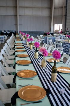 Trendy Mint Green Tablecloth with Black & White Table Runner