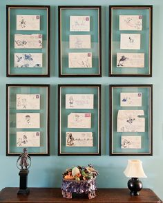 #INSPIRATION: Grouping personal letters or cards for display gives your wall a beautiful #creative touch with added sentimental value. Use seasonal cards to give your collection a festive flair.