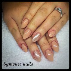 Stunning Almond Nude sculptured acrylic nails using CND Liquid and Powder and Ibd just gel polish. Nude nails. Nude and glitter nails
