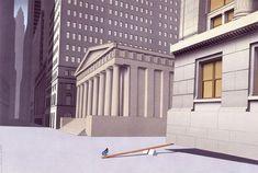 Guy Billout è l'illustratore dell'ironia. Con linee pulite e colori tenui Billout illustra per lo più uomini in situazioni assurde al limite del ridicolo.