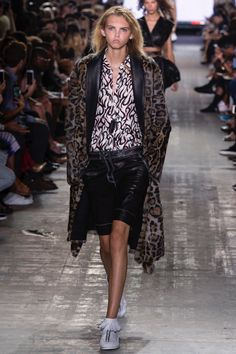 Alexander Wang Spring 2017: Molly Blair walks runway in leopard print coat…