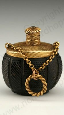 RARE ANTIQUE & VINTAGE SCENT PERFUME BOTTLES: c.1820 CARVED NUT SCENT PERFUME BOTTLE WITH GOLD MOUNTS, FRENCH. To visit my website click here: http://www.richardhoppe.co.uk or for help or information email us here: info@richardhoppe.co.uk