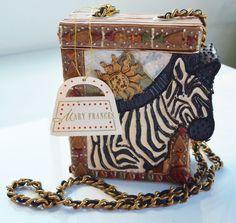 Mary Frances Hard Case Purse Bag Zebra Motif Chain Strap NWT #MaryFrances #ShoulderBag