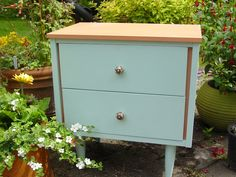 Coral and Blue Night Stand