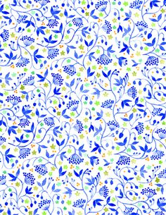 VISIT FOR MORE Floral Pattern by Vikki Chu: Blue with a dash of Orange The post Floral Pattern by Vikki Chu: Blue with a dash of Orange appeared first on Fashion design. Textile Patterns, Print Patterns, Color Patterns, Textiles, Pattern Floral, Flower Patterns, Pattern Paper, Pattern Art, Pattern Illustration