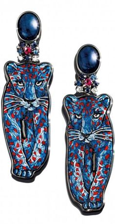Earrings in white gold 18 carats, diamonds, ruby, sapphires, lapis lazuli and microsaic by SICIS Jewels ht