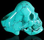 Turquoise Carved Crystal Skull Ring