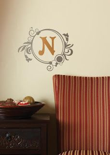 Monogram on the wall! Perfect for the living room or entryway!  Get your own at: http://erins.uppercaseliving.net  #monogram #wedding #newlyweds #bridalshower #walldecor #UppercaseLivingwithErin #UppercaseLiving #wallsticker #family #livingroom #familyname #lastname