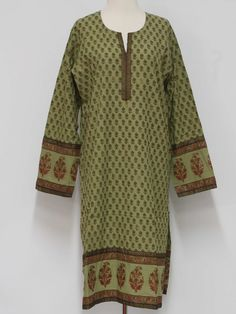 Newer than 90s -Cottage made in India- Womans dusty mint and dark olive, maroon, magenta, purple, black, green and gold, cotton, long sleeve, A-line pullover caftan style Kameez Ethnic Dress or long Tunic Top with teardrop petal flower gold outline, oval shaped lily, scroll and zebra stripe trim on the slash placket, sleeve cuffs and bottom hem, round neckline, strait sides, calf-length skirt and very high side slits, made to be worn with pants.