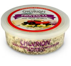 Chevrion Goat Cheese with Provencal available at select retailers nationwide in 4 oz. crumble cups. Potato skins and even humble toast points become mouth watering treats when covered with this goat's milk treat that's been expertly combined with fresh French spices.