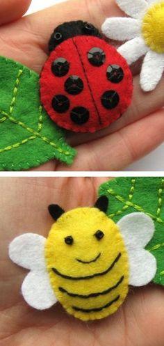 Coccinelle et abeille en découpe de feutrine rebrodée - tutoriel pour d'autres modèles