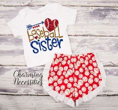 Baseball Sister Glitter Top and Ruffled Shorts Outfit - Baby Girl, Little Sister, Baseball Fan - Red Royal Gold, Red Shorts