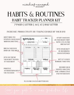 The tools provided in this kit will help you reinforce habits through repetition and apply them to a larger goal, while recognizing behaviors you want to eliminate over time. Routine Planner, Goals Planner, Monthly Planner, Life Planner, Happy Planner, Printable Planner, Free Printables, How To Bullet Journal, Bullet Journal Ideas Pages