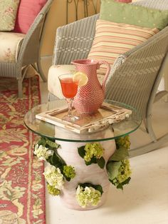 A strawberry pot. now I have to get myself one (and take back my living room to replicate this beautiful room! Garden Art, Garden Ideas, Country Sampler Magazine, Strawberry Pots, Outdoor Ideas, Outdoor Decor, Living Spaces, Living Room, Planter Ideas