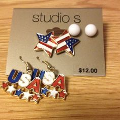 America USA earrings Set of three earrings including small white ball studs, American flag stars and dangle USA with stars! Never worn! Studio S Jewelry Earrings