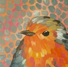 Impressionistic Bird Painting Robin Baby Bird Coral Gray Yellow Art Canvas 12 x 12. $85.00, via Etsy.