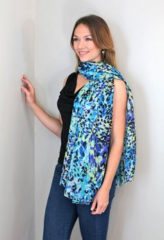 Women's Belize Floral Chiffon Silky Soft Fashion Scarf at Amazon Women's Clothing store: Fashion Scarves, Fashion Scarves, multicolor, formal, dressy scarves, pashmina shawls, shawls, wraps, cute, pretty, unique scarves, holiday scarf, holiday gifts for women, affordable, easy to wear, versatile shawls, designer scarves, stylish, modern, trendy, super soft, best value, great deal, animal print, blue