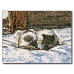 Gato que dorme em uma cama por Claude Monet Cartão Postal