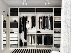 PAX Ikea dressing idea: a shelf to separate the 2 parts wardrobes, po . - Ikea DIY - The best IKEA hacks all in one place Wardrobe Design Bedroom, Bedroom Wardrobe, Wardrobe Closet, Home Bedroom, Bedroom Decor, Wardrobe Planner, Pax Planner, Ikea Walk In Wardrobe, Curtain Wardrobe
