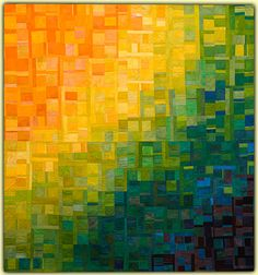 Ellin Larimer: Fiber Artist - Transitions and Other Series. Love the beautiful gradation of the colors. Design Textile, Textile Art, Quilting Projects, Quilting Designs, Watercolor Quilt, Scrappy Quilts, 3d Quilts, Bargello Quilts, Rainbow Quilt