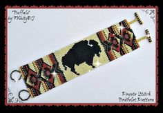 BP-PEY-119 - 2016 - 058 -  Buffalo - Peyote Stitch Bracelet PATTERN, Peyote Bracelet pattern, beaded bracelet
