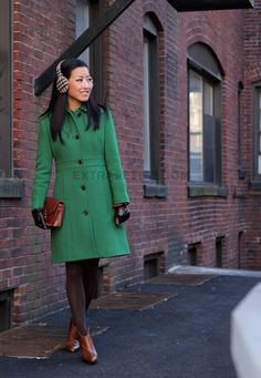 Green lady day coat and navy bows   Navy and Trench