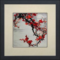 King Silk Art 100% Handmade Embroidery Japanese Winter Cherry Blossoms Chinese Brush Print Large Framed Flower Floral Painting Anniversary Wedding Gift Oriental Asian Wall Art Décor Artwork Tapestry Hanging Picture Gallery 36115WFG: Wedding anniversary gift
