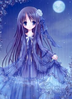 Girl with Blue Hair | rain blue eyes blue hair anime tinkle illustrations anime girls ...