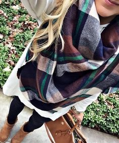 #fall #outfits Printed Oversized Scarf // Black Legging // Boots // White Sweater