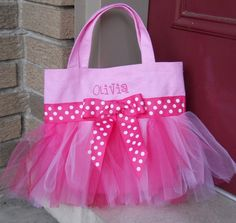 Embroidered Dance Bag in Shades of Pink with Pink Polka Dot Ribbon Tutu Tote Bag - TB139 - D