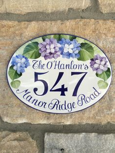 hand painted flowers number sign/ home address by DipintoAdArte