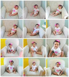 month by month baby shots. After 1 year start doing them every year on your child's birthday. Keep the same chair the way it was since you started taking the pictures. (Stains or not) so you can see the years through the chair and kid. When kid turns 18 give the chair AND copies of the pictures to your kid.