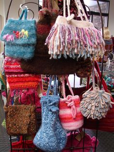 Handknit and Crocheted Handbags    www.cefiber.com and CheriEsper on Etsy
