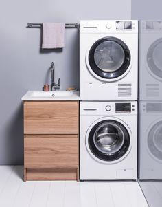 New Zealand premium luxury bathroom furniture Laundry Cabinets, Stacked Washer Dryer, Bathroom Furniture, Bathroom Inspiration, Home Appliances, Luxury, Design, House Appliances, Linen Cabinet