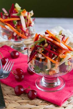 Cherry and Fennel Salad  Celebrate cherry season like be-healthful with a salad that pairs the juicy stone fruit with beet, fennel, and carrot matchsticks.