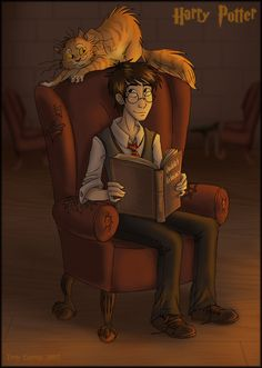 Harry Potter by B1nd1 -- Fan Art / Digital Art / Drawings / Other  ©2005-2014 B1nd1   --   Harry in the Gryffindor common room with Crookshanks looming over him.  Harry Potter and all that is Potterish is copyright JK Rowling. -- Art is me.