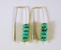 Turquoise and Sterling Silver Earrings. Ear Threads, Hand Fabricated. Minimalist Industrial.