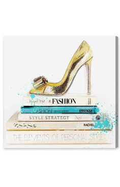 33be0ca950b Oliver Gal -  Gold Shoe  amp  Fashion Books  Canvas Wall Art http